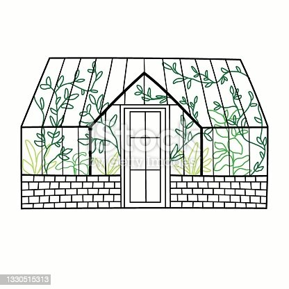 istock Hand drawn glass greenhouse with plants. 1330515313