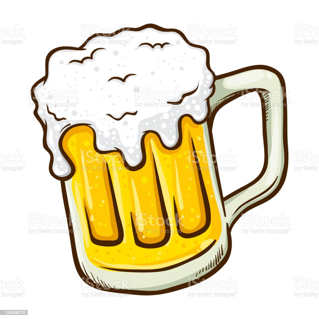 Hand Drawn Glass of Beer vector art illustration