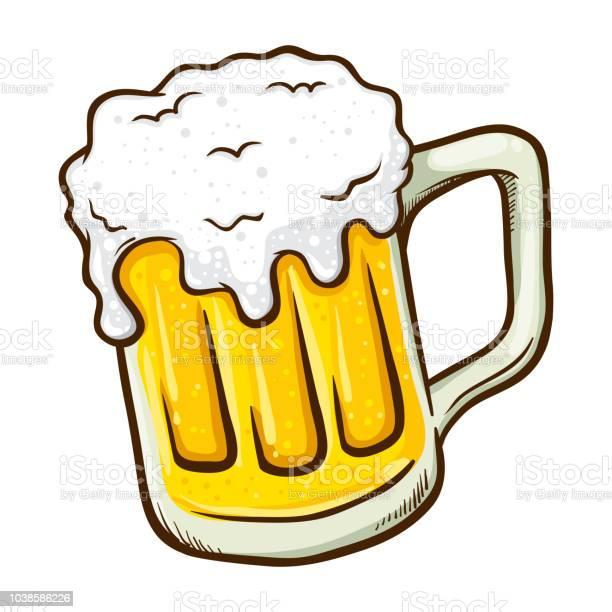 Hand Drawn Glass Of Beer — стоковая векторная графика и другие изображения на тему Алкоголь - напиток