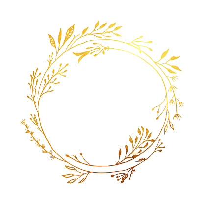 Hand Drawn Gold Colored Flower Wreath. Floral Vector Design Element for Birthday, New Year, Christmas Card, Wedding Invitation.
