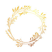 istock Hand Drawn Gold Colored Flower Wreath. Floral Vector Design Element for Birthday, New Year, Christmas Card, Wedding Invitation. 1297917922