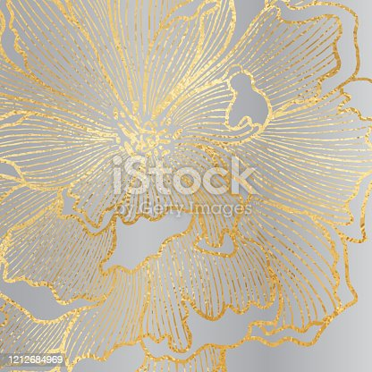 istock Hand Drawn Gold Foil Peony Flower Background. Elegant design element for greeting cards (birthday, valentine's day), wedding and engagement invitation card template. 1212684969