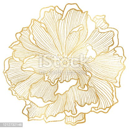 Hand Drawn Gold Foil Peony Flower Background. Elegant design element for greeting cards (birthday, valentine's day), wedding and engagement invitation card template.