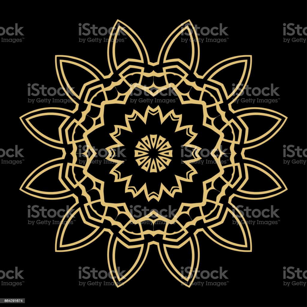 Hand drawn Gold Mandala on a black background. Vector pattern. royalty-free hand drawn gold mandala on a black background vector pattern stock vector art & more images of abstract