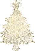 Vector illustration of a Hand drawn golden Christmas Tree. Hand lettered Christmas greeting.