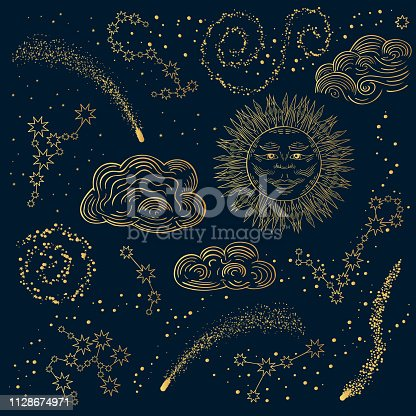 Hand drawn golden galaxy, stars and constellations with sun and clouds. Pattern with zodiacs in the night sky. Vector isolated cosmic illustration.