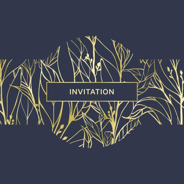 handgezeichnete goldene blätter auf dunkelblauem hintergrund, einladung kartendesign - clipart goldene hochzeit stock-grafiken, -clipart, -cartoons und -symbole
