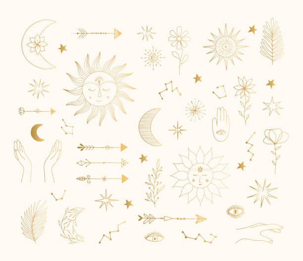 ilustraciones, imágenes clip art, dibujos animados e iconos de stock de símbolos místicos dorados dibujados a mano. sol, luna, diseño de tatuaje estrella. ilustración aislada de lámina de oro vectorial. - tatuajes de luna