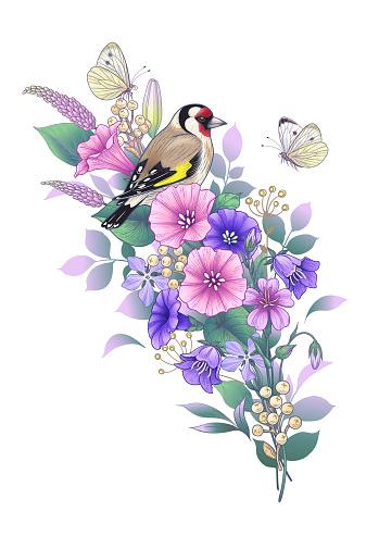 Hand drawn goldfinch sitting on wildflowers bouquet