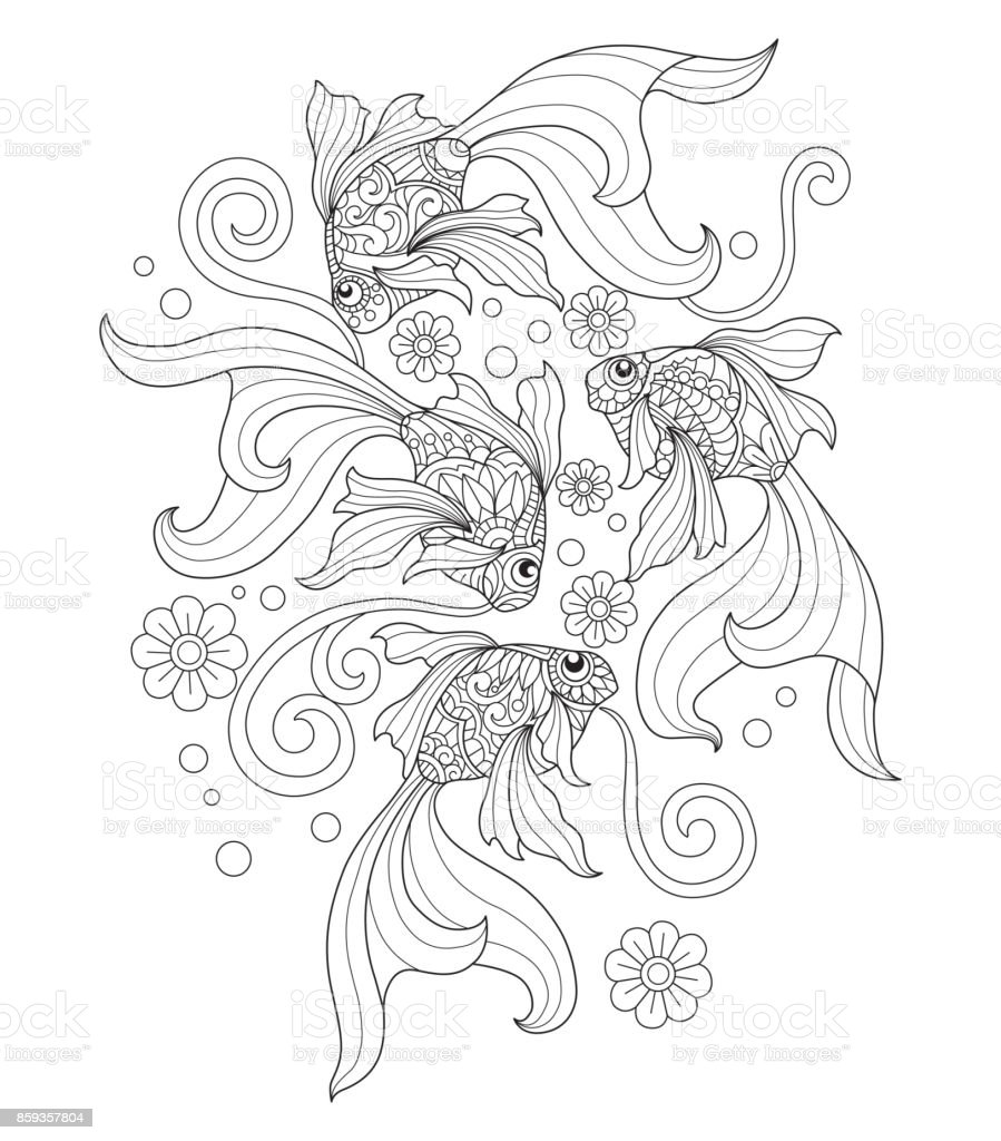 Handritad guldfisk konst för vuxen målarbok. vektorkonstillustration