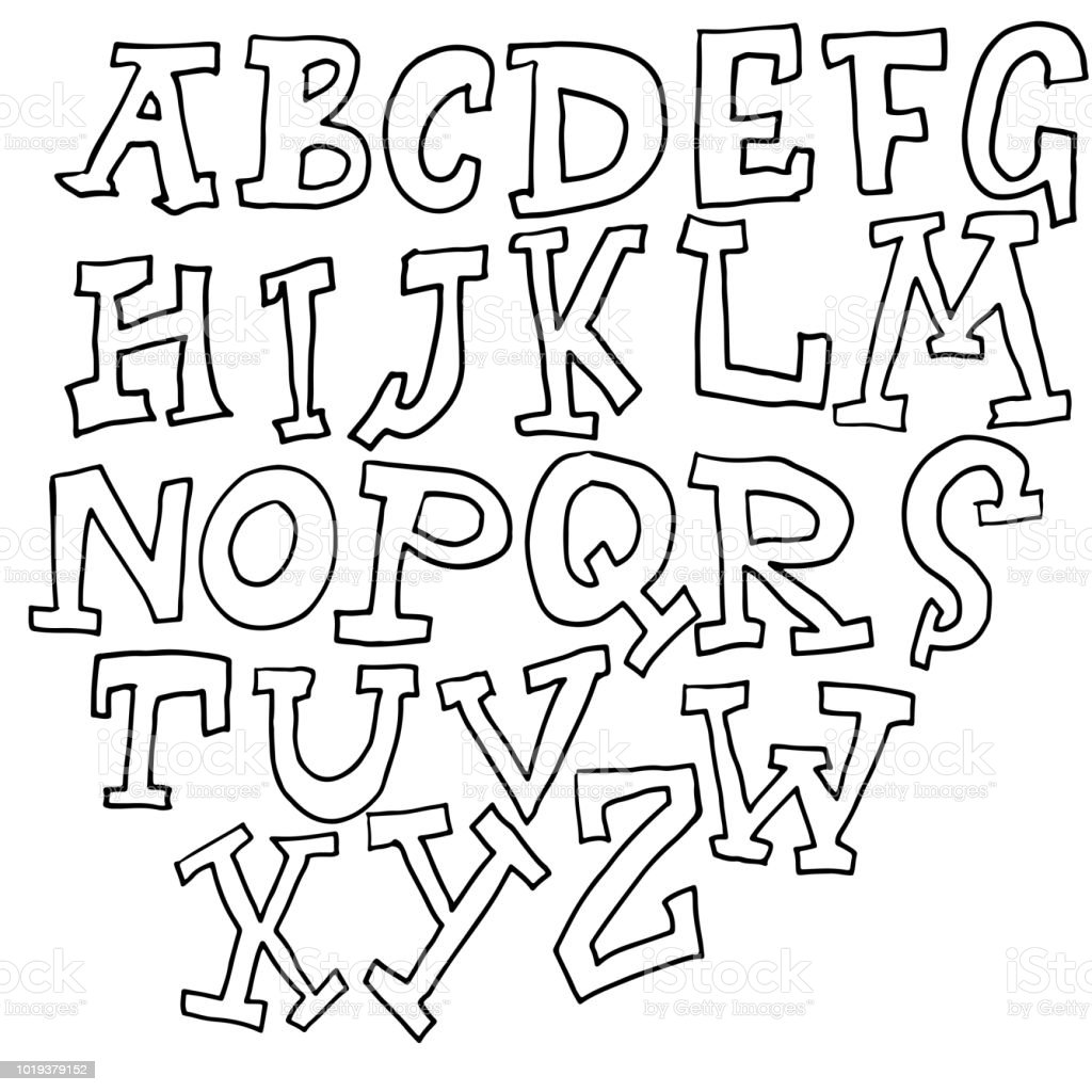 Hand drawn graffiti font modern lettering vector illustration royalty free hand drawn