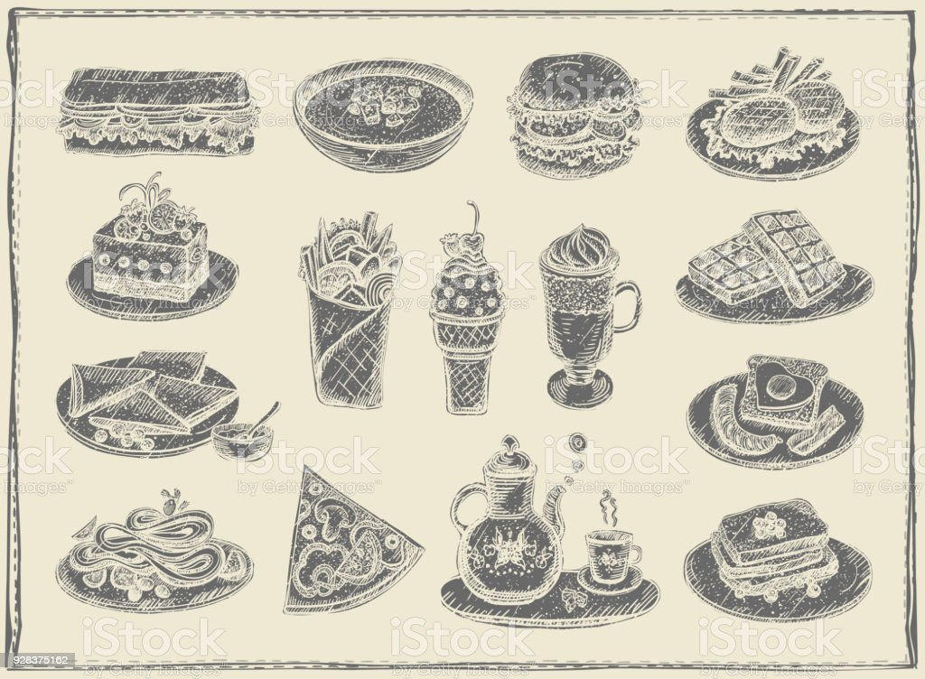 Hand drawn graphic illustration of assorted food, desserts and drinksPrint vector art illustration