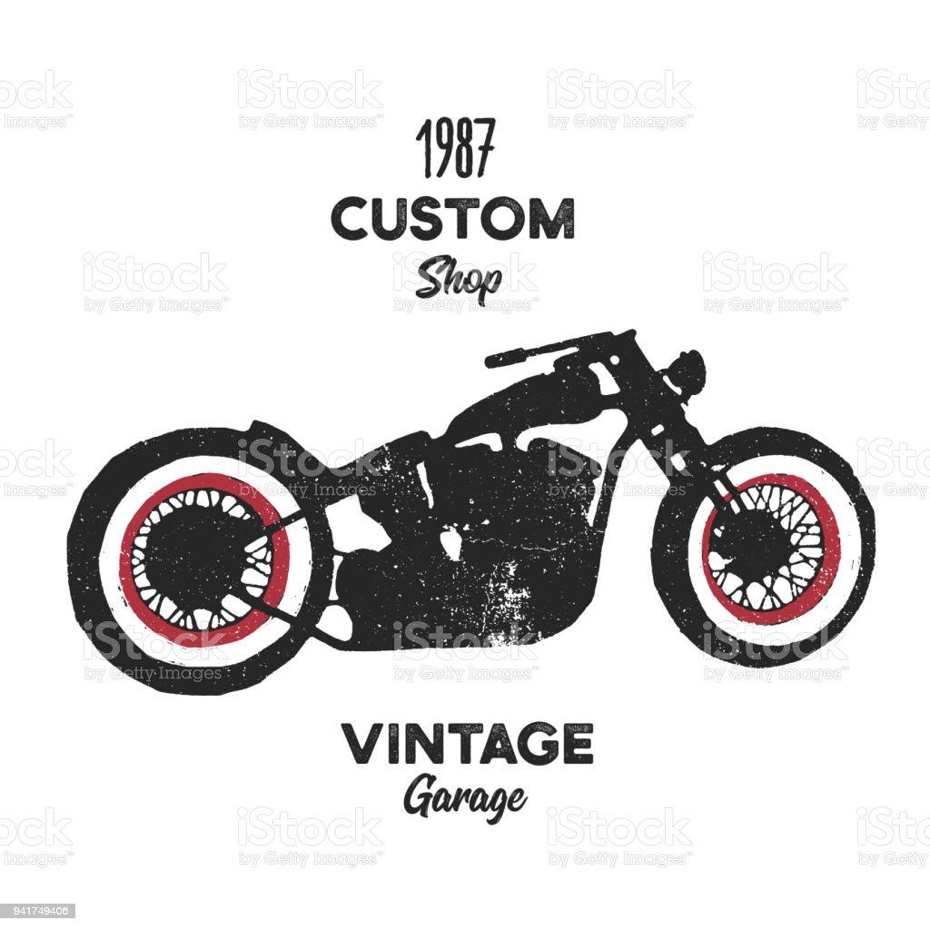 Hand drawn graphic old school vintage chopper motorcycle. Custom shop  vintage garage vector art illustration