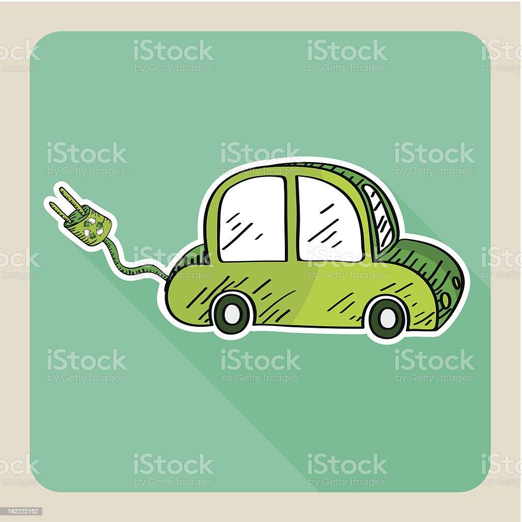 Hand drawn green eco friendly car EPS10 vector file. royalty-free stock vector art