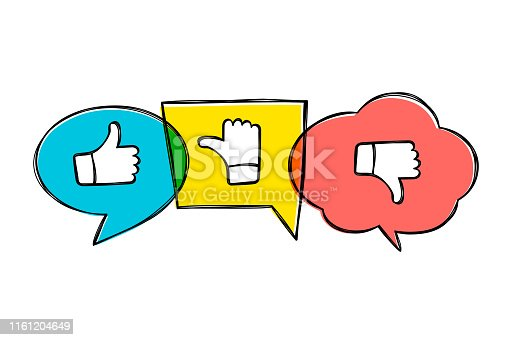 Hand drawn green, red and yellow speech bubbles with thumbs up and down. Like, dislike and undecided icons in sketchy style.  Pointing gesture hands. Feedback concept.