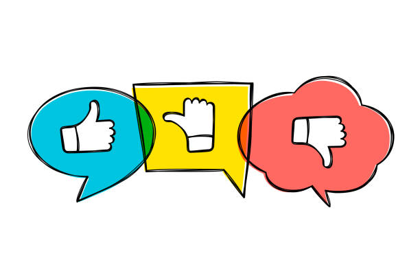 hand drawn green, red and yellow speech bubbles with thumbs up and down. like, dislike and undecided icons in sketchy style.  pointing gesture hands. - thumbs up stock illustrations