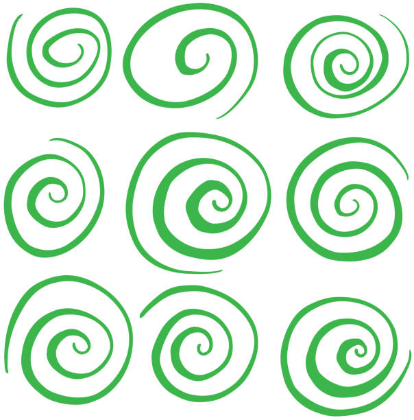 hand drawn green swirl circle vectors - спираль stock illustrations