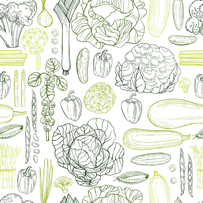 Hand drawn green vegetables on white background.   Vector seamless pattern