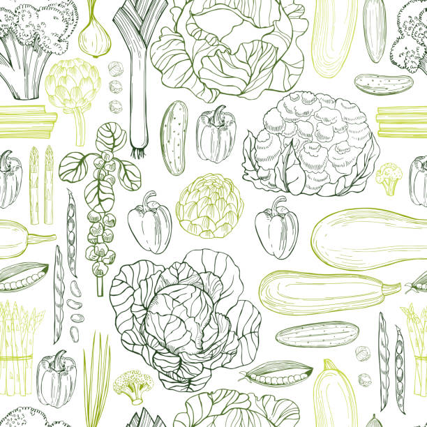 stockillustraties, clipart, cartoons en iconen met hand getrokken groene groenten.   vector naadloos patroon - kruisbloemenfamilie