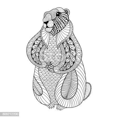 Ilustración de Groundhog Dibujados A Mano Para Adultos Para Colorear ...