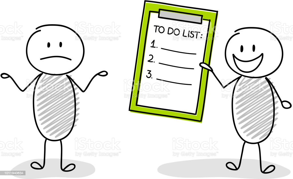 hand drawn group of cartoon stickmen holding to do list vector royalty free