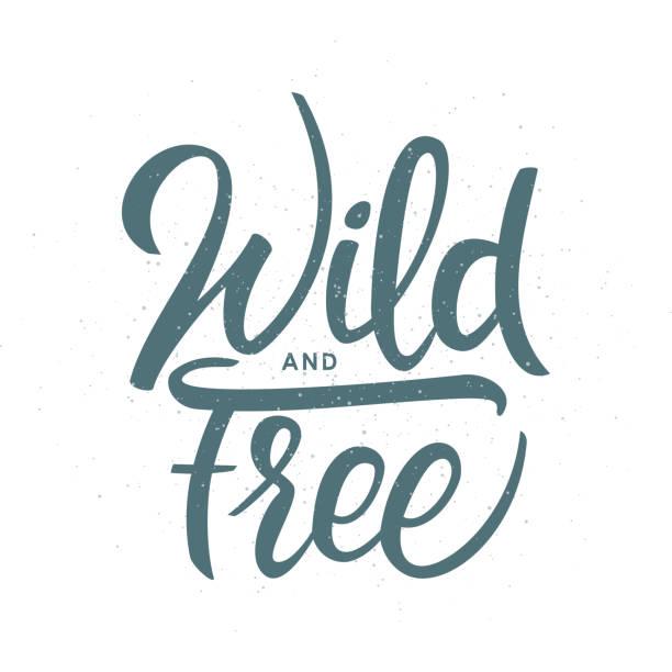 Grunge desenhada mão escova letras de selvagem e livre, sobre fundo branco. - ilustração de arte em vetor