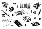 Hand drawn grunge pencil texture. Set of vector charcoal elements.