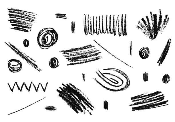 illustrations, cliparts, dessins animés et icônes de main sur texture de crayon grunge. ensemble d'éléments vectoriels à charbon. - griffonnage