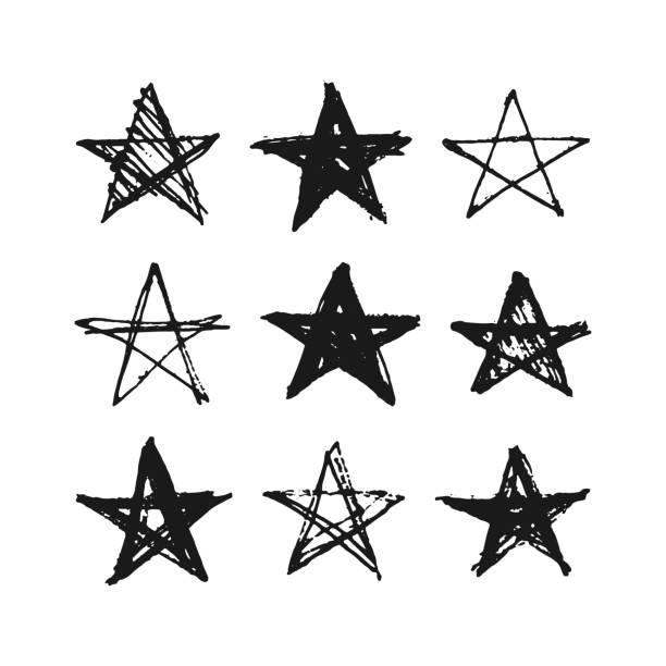 ręcznie rysowane grunge gwiazdy zestaw. - kształt gwiazdy stock illustrations