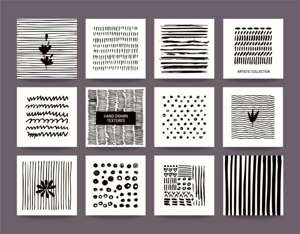 Hand Drawn Grunge Textures Collection. Vector Set Creative black and white collection of hand drawn tribal textures, paint dabs and abstract stains. Suitable for artistic poster, flyer, invitation, banner, business and greeting card templates. Vector set. indigenous culture stock illustrations