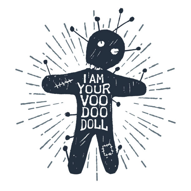 "Hand drawn Halloween label with textured vector illustration. Hand drawn Halloween label with textured voodoo doll vector illustration and ""I am your voodoo doll"" lettering. voodoo stock illustrations"