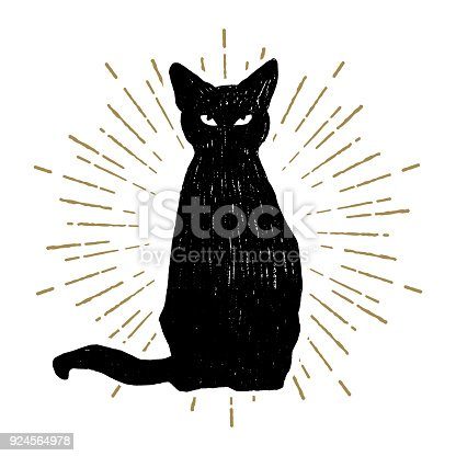 Hand drawn Halloween icon with a textured black cat vector illustration.