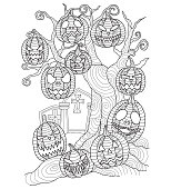 Hand drawn halloween pumpkin on the dead tree for adult coloring page.