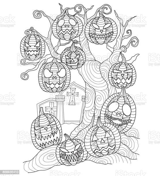 hand drawn halloween pumpkin on the dead tree for adult coloring page vector id