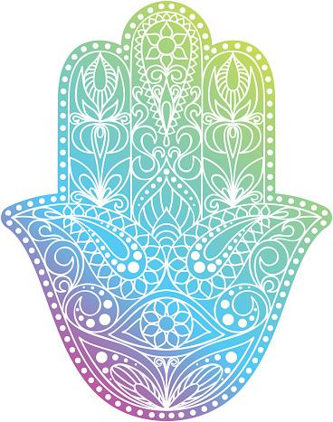 手繪 Hamsa 符號 法蒂瑪之手在印度 阿拉伯和猶太文化中常見的種族護身符向量圖形及更多亞洲和印度人圖片 - iStock