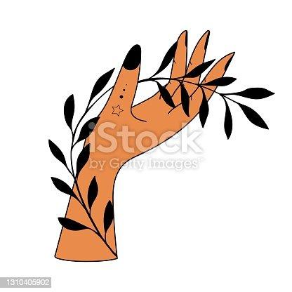 Hand drawn hand with Magic Symbols, Magic astrological symbols vector illustrations. Can use Tattoo design, mystic esoteric symbol.