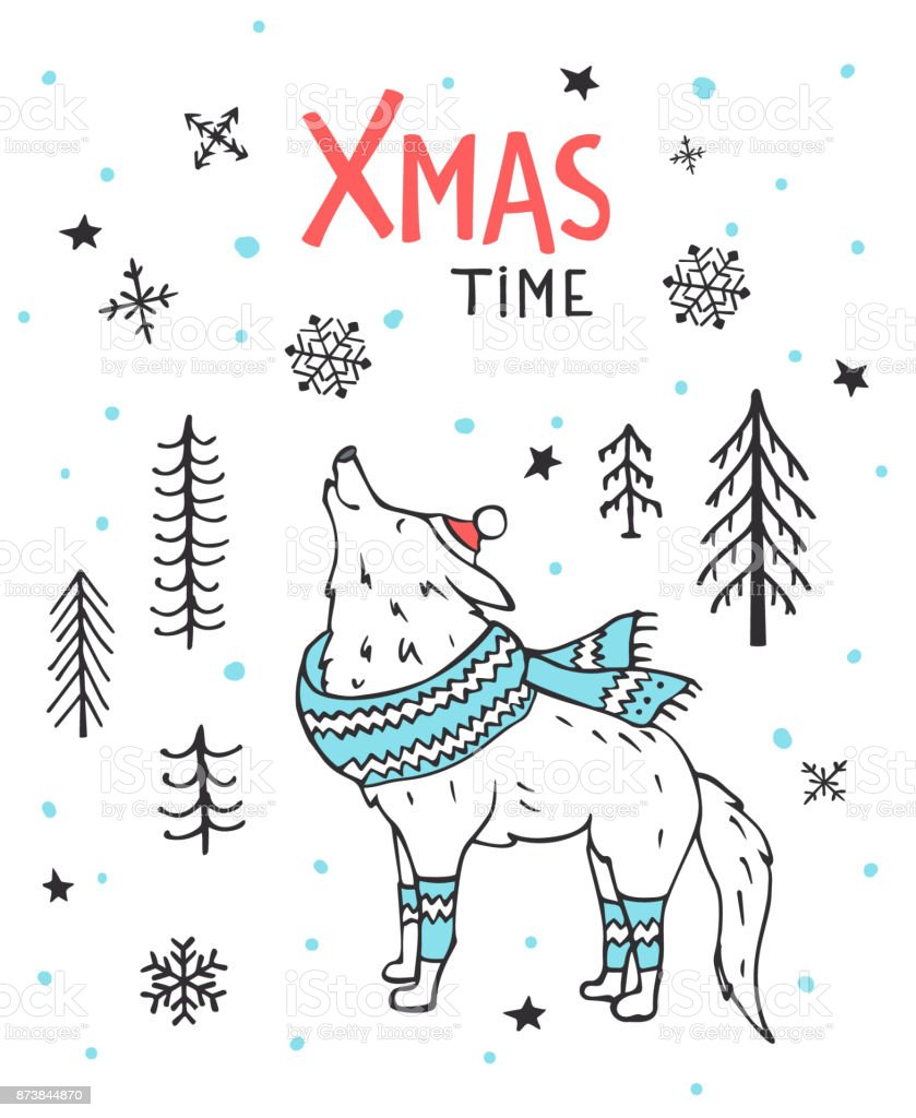 Christmas Wolf.Hand Drawn Handwritten Winter Xmas Time Greeting Card With