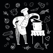 Textured hand drawn happy chief with doodle meal and big saucepan on black background.Cook illustration for your design