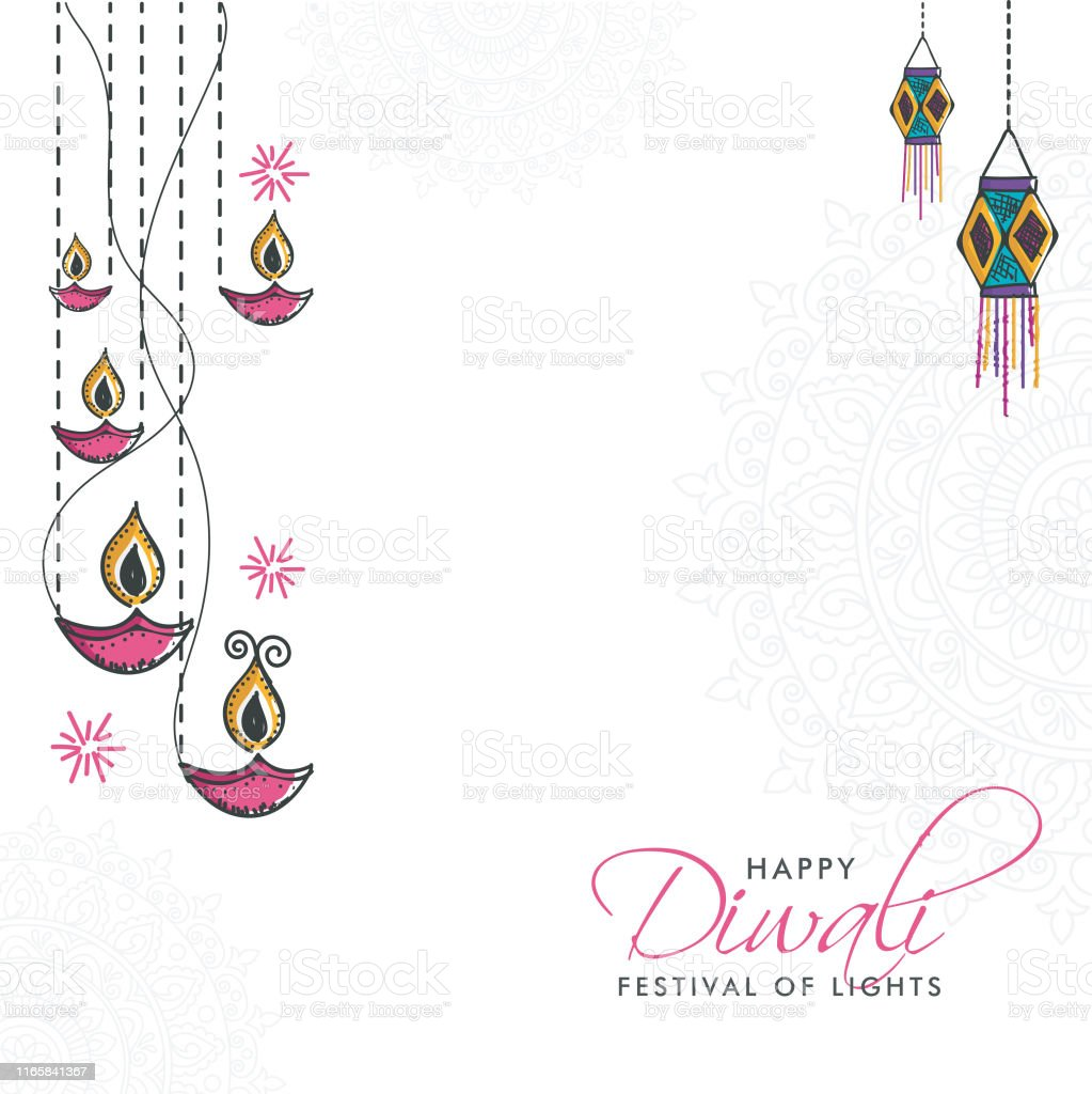 Hand Drawn Happy Diwali Poster Or Banner With Oil Lamp
