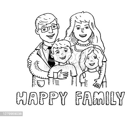 istock Hand drawn happy family 1279959038