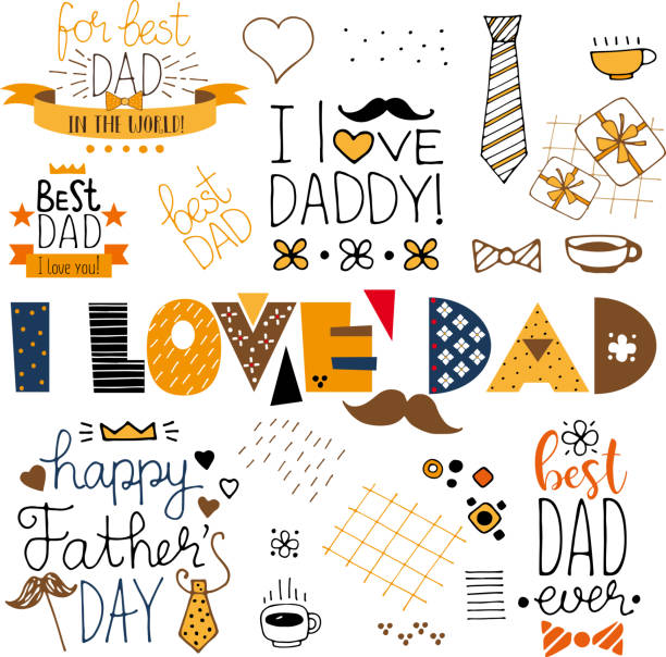 hand drawn happy fathers day doodle items - father stock illustrations, clip art, cartoons, & icons