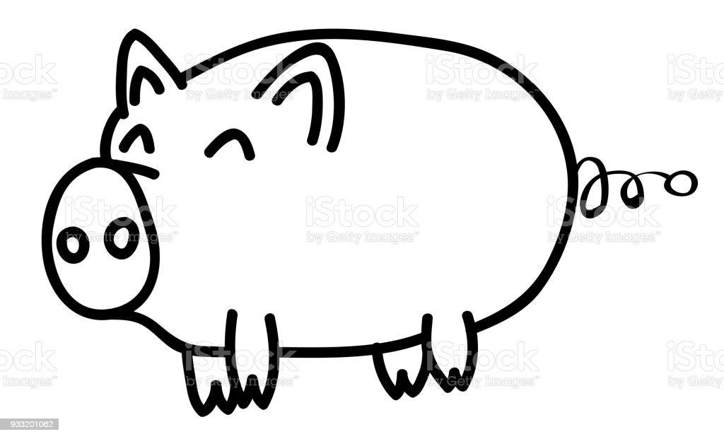 Ilustracion De Mano Dibuja Contorno Animal Cerdo Feliz En Estilo De