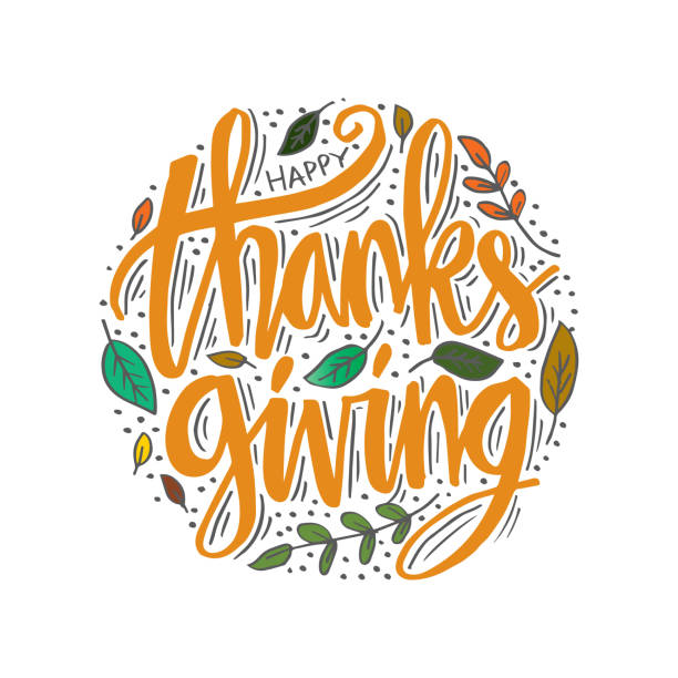 hand drawn happy thanksgiving typography calligraphy poster. - thanksgiving stock illustrations