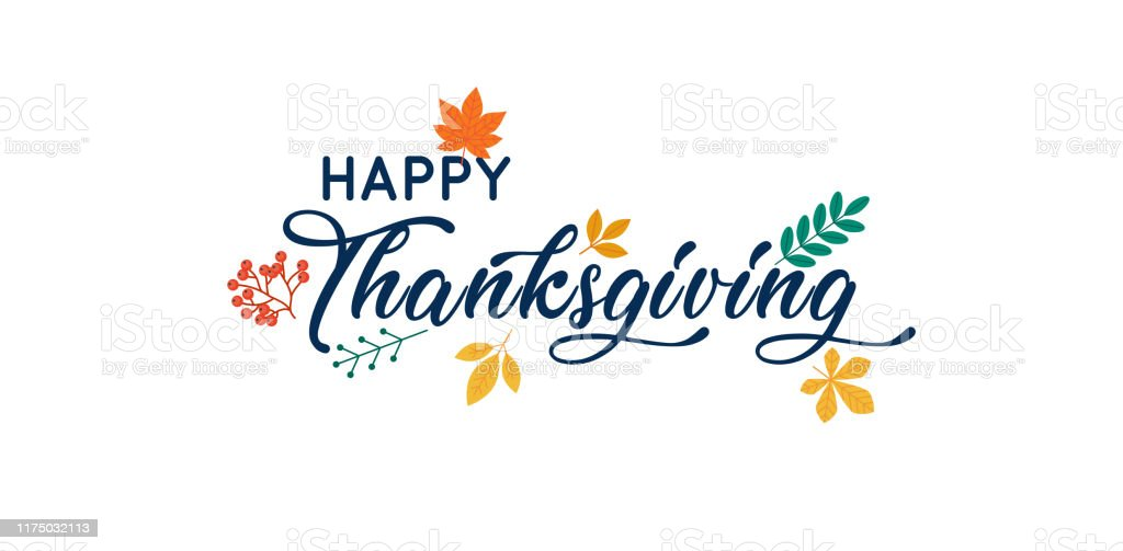 Hand drawn Happy Thanksgiving typography poster. - Grafika wektorowa royalty-free (Abstrakcja)