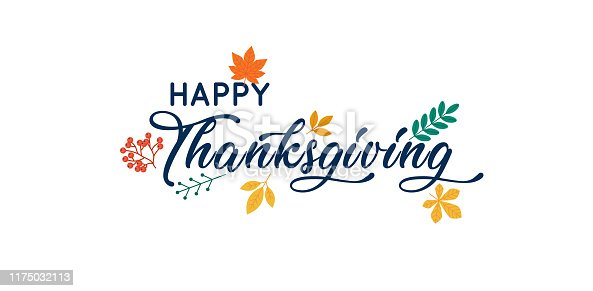 istock Hand drawn Happy Thanksgiving typography poster. 1175032113