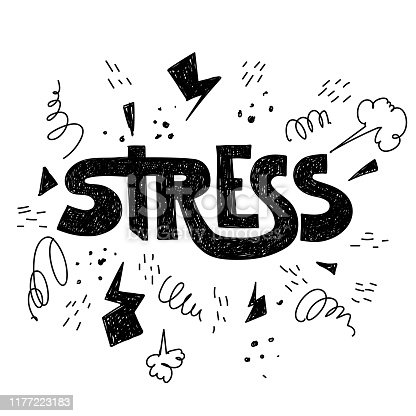 Hand drawn hatching lettering word stress. Vector conceptual illustration with doodle elements