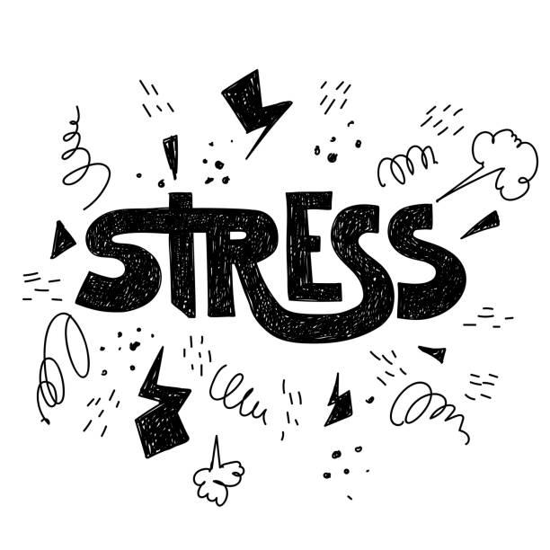 ilustraciones, imágenes clip art, dibujos animados e iconos de stock de tensión de la palabra de incubación dibujada a mano en vector - estrés