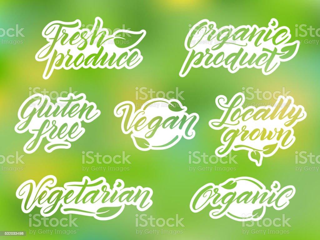 Mano Dibujado Etiquetado Comida Saludable Etiqueta Logotipo ...