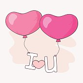 Hand drawn heart balloons holding letters. Valentine`s day vector illustration