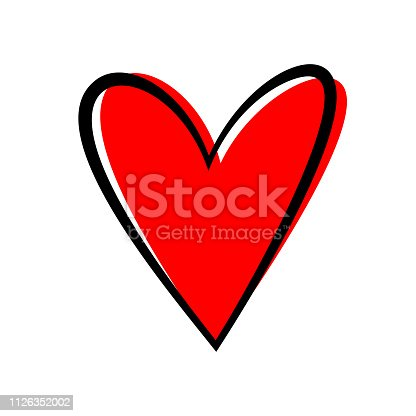 Hand drawn heart isolated. Design element for love concept. Doodle sketch red heart shape.